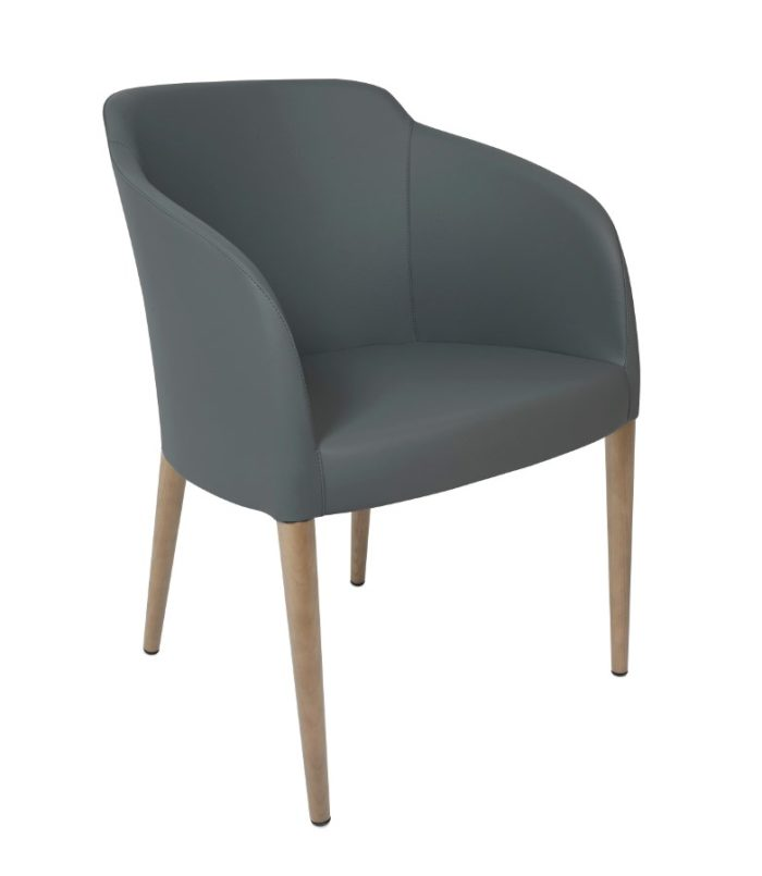 ESTE ARM CHAIR, GREY/OAK