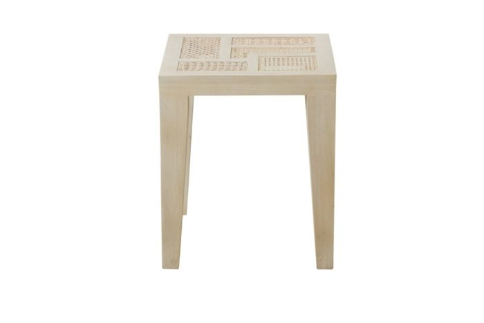 BASILISA END TABLE, MAHG/RATTAN